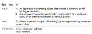 And by fan, I mean the admiration for/admirer definition