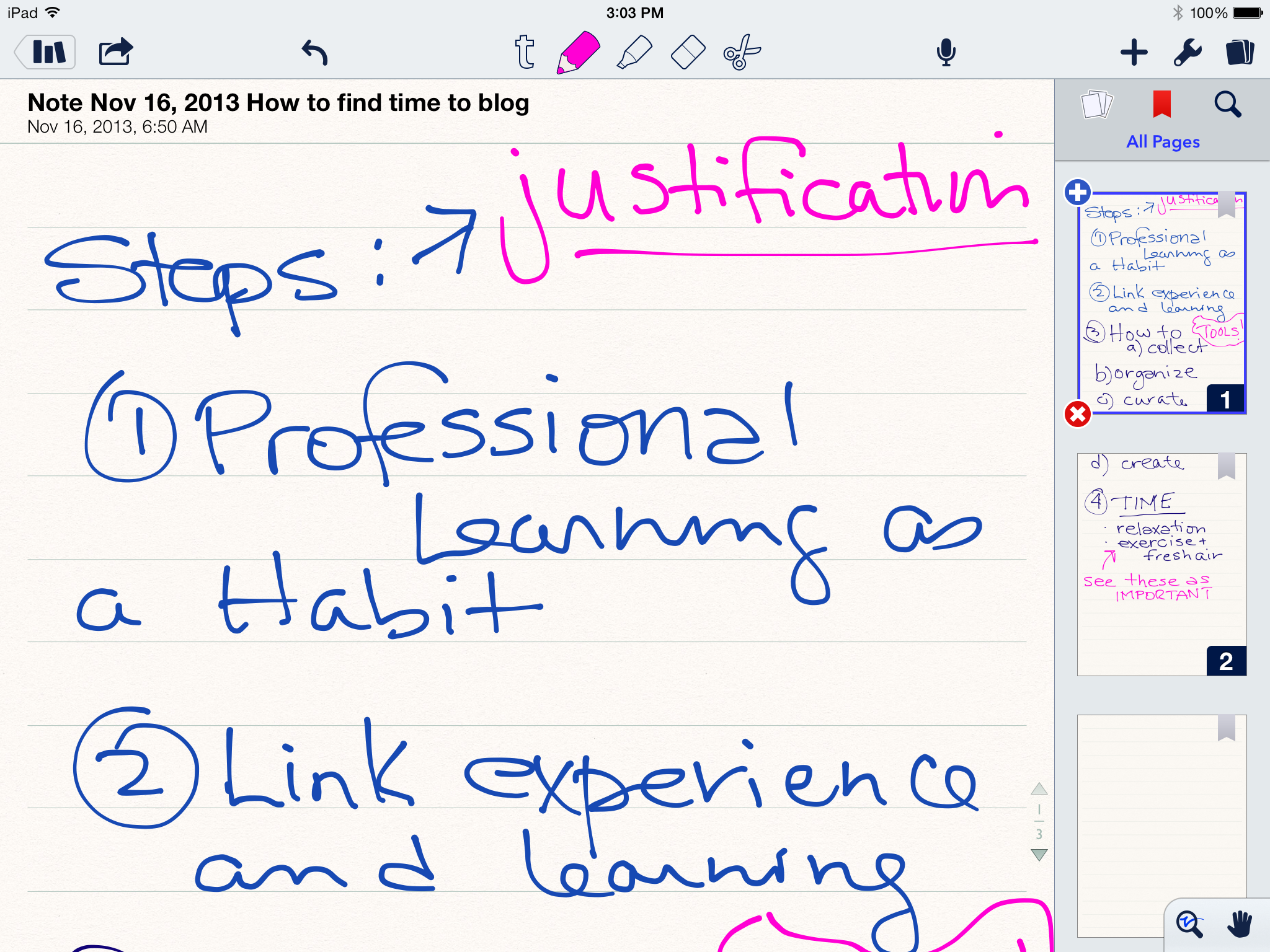 blog layout in notability